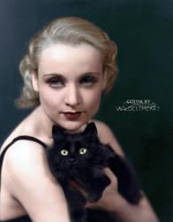 Carole Lombard with cat 1930 by xxwildestheartxx