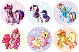 MLP Mane Six Buttons by Jackalune