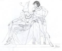 Osiris and Seth by Elrallinde