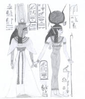Nefertari and Hathor by Elrallinde