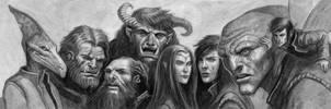 Earthdawn Wall of heads by McHughstudios