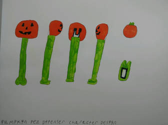Pumpkin Pez Dipenser Character Design by JekyllAndHydeChannel
