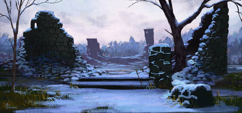 Snow Covered Ruins by jjpeabody