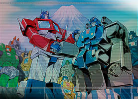 When Optimus met the Trainbots by GuidoGuidi