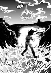 Goku and Vegetas power struggle by Dalarminus