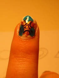 Zelda nails-spiritual stone of water by bookwormy606