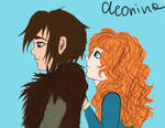 Merida and Hiccup by cleonina