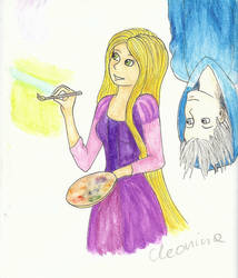 Jack Frost and Rapunzel by cleonina