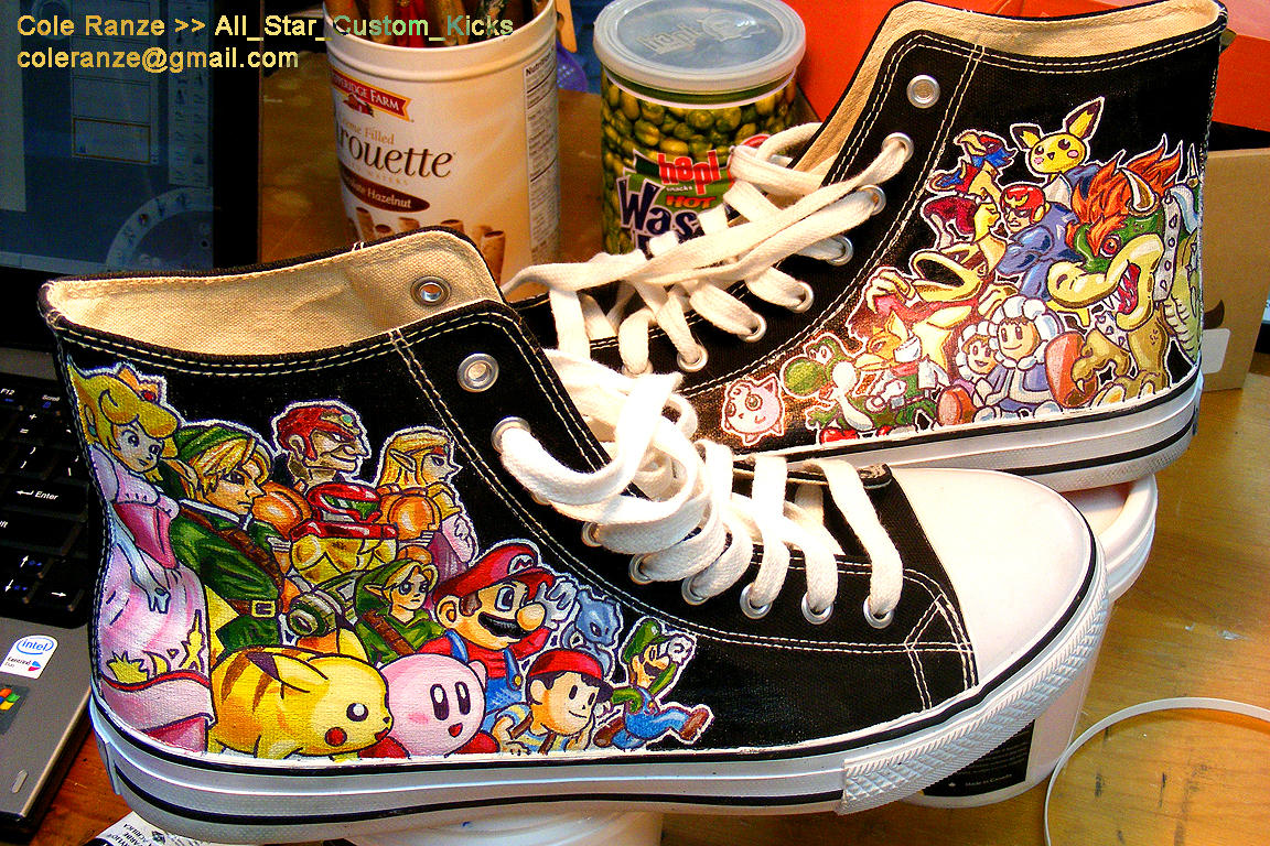 Hand Painted Nintendo Kicks by Cmr8286