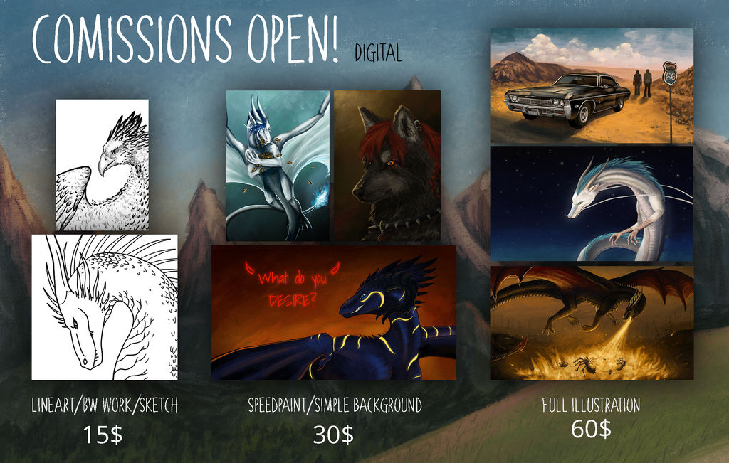 Digital Comissions info 2018 by Grees19