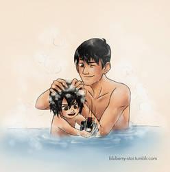 Baby!Hiro and Adult!Tadashi - Bathtime Part 1 by Blu3berryStar