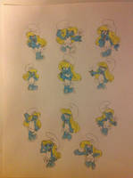 Smurfette in a comic and cartoon version by Prince5s
