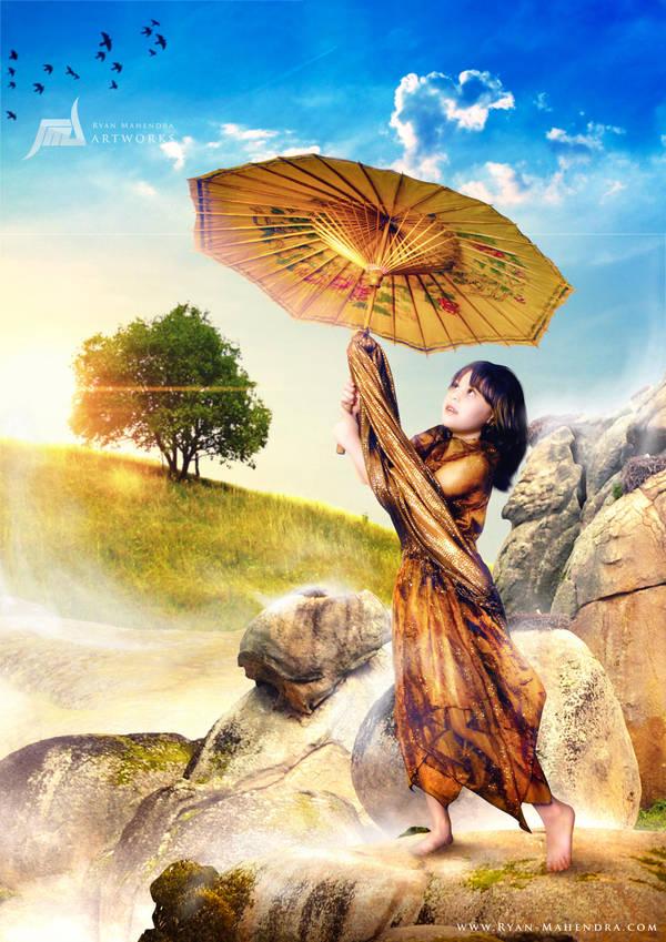 Child With Umbrella by ryan-mahendra