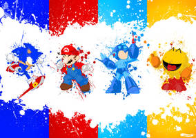 Mario, Megaman, Sonic and Pac-man by Achiii030