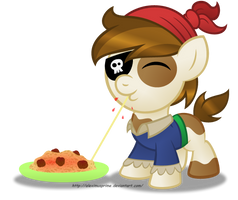 Commission:  Pip loves Spagetti! by AleximusPrime