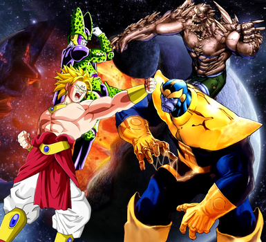 Majin Broly And Cell Vs Thanos And Doomsday By Tony Antwonio On