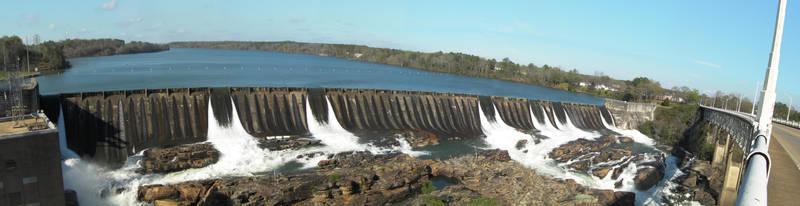 Thurlow Dam 7 Gates Panoramic by pecaspers