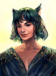 shiny catgirl by fluffySlipper