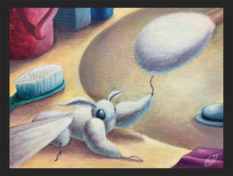 Fluffy moth and a Q tip by Bloo-Ocean