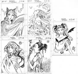 Fallcon sketch cards by MeredithDillman