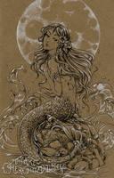 Moon mermaid drawing by MeredithDillman
