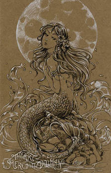 Moon mermaid drawing by MeredithDillman