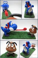 Super Mario- Large Blue Yoshi + Goomba commission by Tsurera