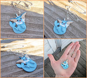 Pokemon Vaporeon Necklace Charm by Tsurera