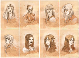 Sketch portraits - Set 6 by CristianaLeone