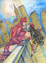 Elektra and Daredevil by CristianaLeone