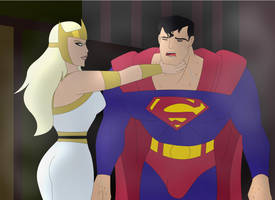 Aresia forces Superman to give up by supermaxx92