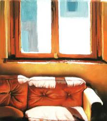 revised orange sofa by classina