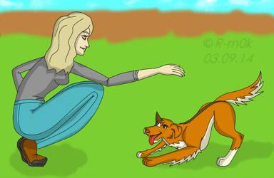 Girl-trains-a-dog by Donnara