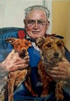 Grandfather with 2 pet dogs by littlestudio