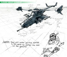 Human Heavy Gunship Concept by danielcherng