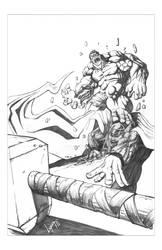 hulk vs thor by freddylupus