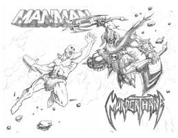 Manman versus Murderthane by freddylupus