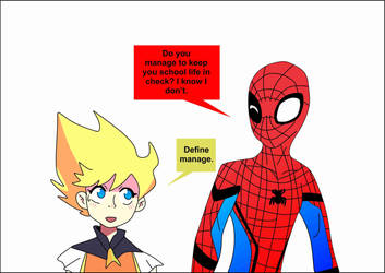 Spider-man meets Supersonic girl by brandonking2013