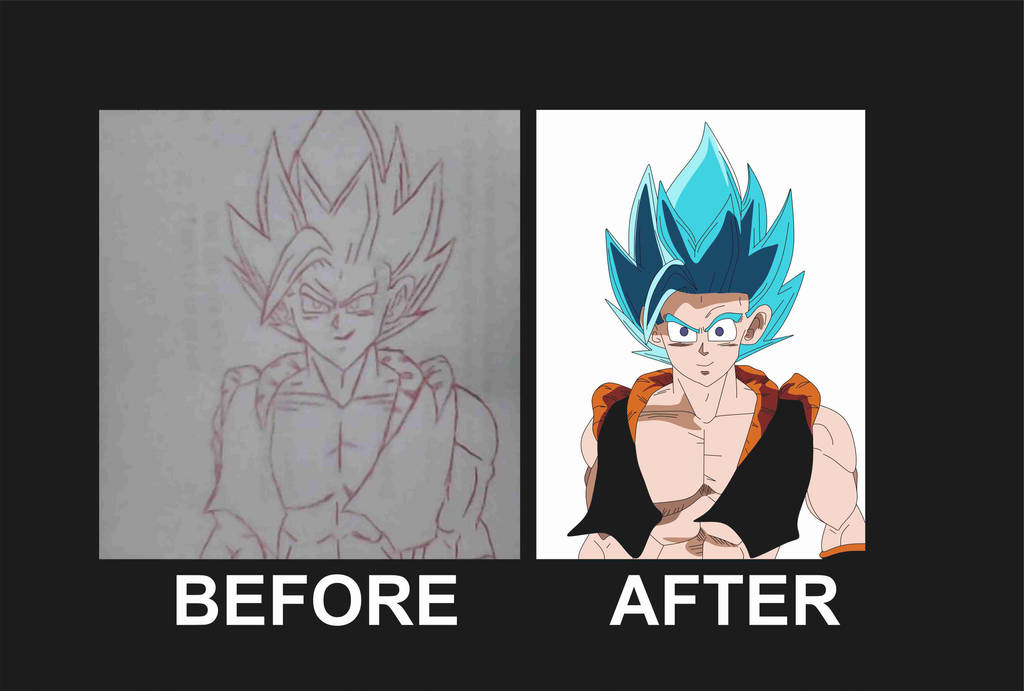 Trying to draw gogeta in new dragon ball style by brandonking2013