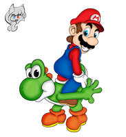 Companions (Mario and Yoshi) by DuhEEva