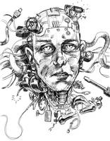 Broken android head by holaso