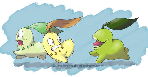 Bitting Pear and Chikorita by CutyAries