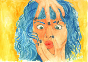 Self Portrait with Blue Hair by AKrukowska