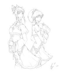 Da and Xiao Qiao - lineart by daskirtz