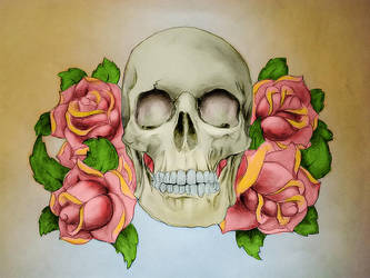 Skull with roses by Power-O-F-F
