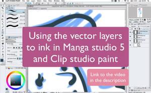 Inking using vector layers on manga studio 5 by martinacecilia