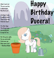 Happy Birthday Ducera!/A Spike of Green by AWisePony