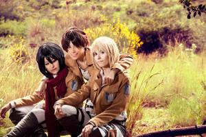 Eren, Mikasa and Armin, Shingeki no Kyojin by Doriri-chan