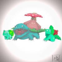 Bulbasaur, Ivysaur and Venusaur. by GuilleJoK