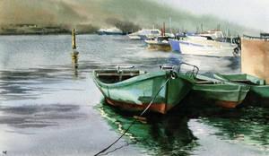 Boats in Balaklava by Filat
